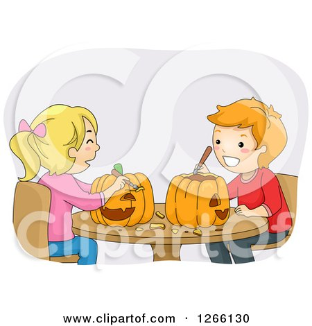 Clipart of a Caucasian Boy and Girl Carving Halloween Pumpkins Together| Royalty Free Vector Illustration by BNP Design Studio