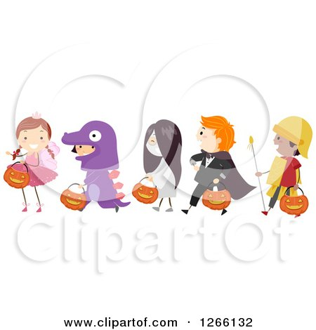 Clipart of Children Wearing Halloween Costumes and Walking in Line - Royalty Free Vector Illustration by BNP Design Studio