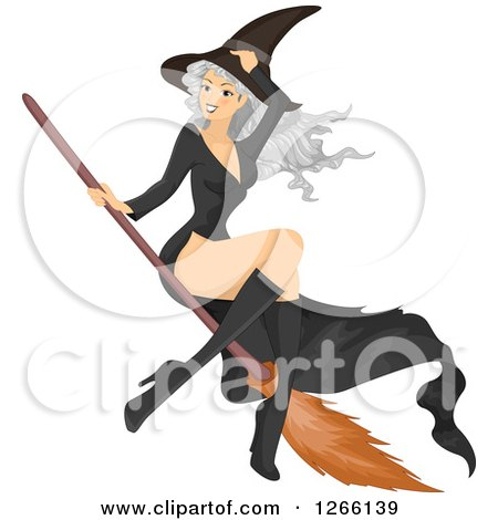 Clipart of a Gray Haired White Witch Woman Flying on a Broomstick - Royalty Free Vector Illustration by BNP Design Studio