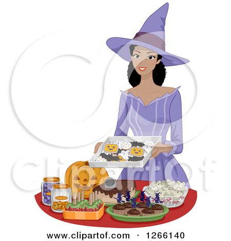Clipart of a Pretty Young Black Woman Dressed As a Witch, Setting up Halloween Party Snacks - Royalty Free Vector Illustration by BNP Design Studio