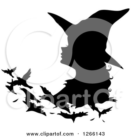 Clipart of a Black Silhouetted Witch Changing into Birds - Royalty Free Vector Illustration by BNP Design Studio