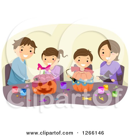 Clipart of a Brunette Caucasian Family Decorating Halloween Pumpkins Together - Royalty Free Vector Illustration by BNP Design Studio