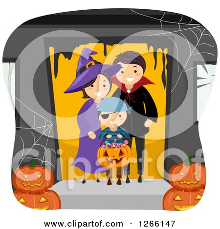 Clipart of a Happy Boy Trick or Treating As a Pirate with His Witch and Vampire Parents - Royalty Free Vector Illustration by BNP Design Studio