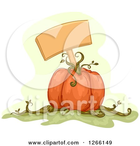 Clipart of a Blank Sign in a Pumpkin - Royalty Free Vector Illustration by BNP Design Studio