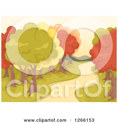 Clipart of a Path Through Autumn Trees in a Park - Royalty Free Vector Illustration by BNP Design Studio