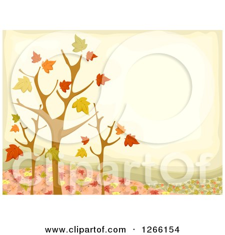 Clipart of a Fall Background with Nearly Bare Trees and Autumn Leaves - Royalty Free Vector Illustration by BNP Design Studio