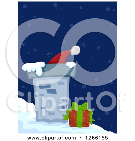 Clipart of a Roof Top Chimney with a Gift and Tip of Santas Hat - Royalty Free Vector Illustration by BNP Design Studio
