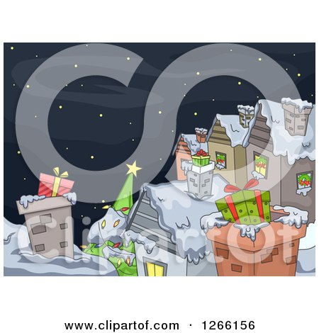Clipart of Gifts in Chimneys on Roof Tops on Christmas Eve - Royalty Free Vector Illustration by BNP Design Studio