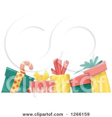 Clipart of a Background with a Candy Cane and Christmas Gifts Under Text Space - Royalty Free Vector Illustration by BNP Design Studio