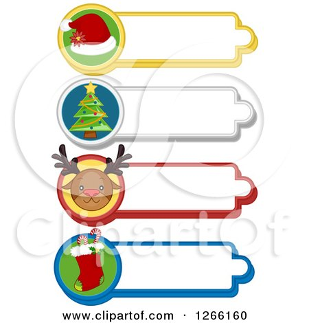 Clipart of Santa Hat, Christmas Tree, Reindeer and Stocking Christmas Labels - Royalty Free Vector Illustration by BNP Design Studio