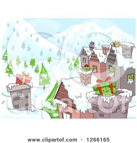 Clipart of Gifts in Chimneys on Village Roof Tops - Royalty Free Vector Illustration by BNP Design Studio