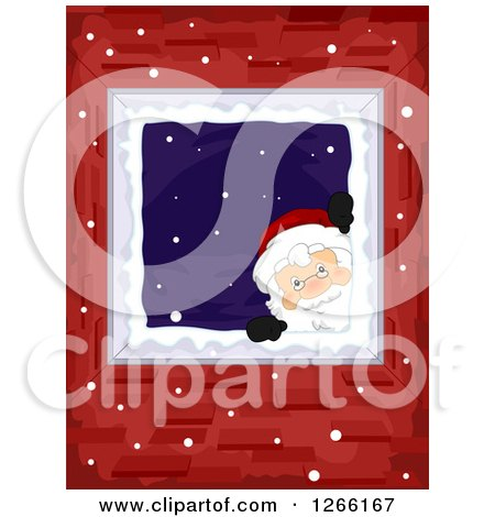Clipart of Santa Peeking in Through a Window in a Brick Home - Royalty Free Vector Illustration by BNP Design Studio