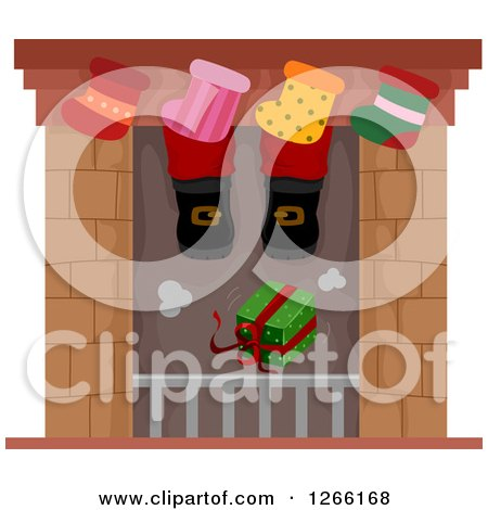 Clipart of a Gift Dropping down a Chimney Under Santas Feet and Stockings - Royalty Free Vector Illustration by BNP Design Studio