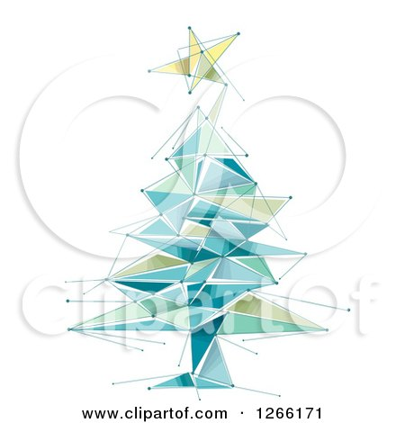 Clipart of a Geometric Christmas Tree and Star - Royalty Free Vector Illustration by BNP Design Studio