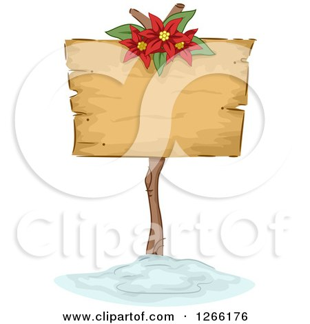 Clipart of a Wooden Christmas Sign with a Poinsettia in the Snow - Royalty Free Vector Illustration by BNP Design Studio