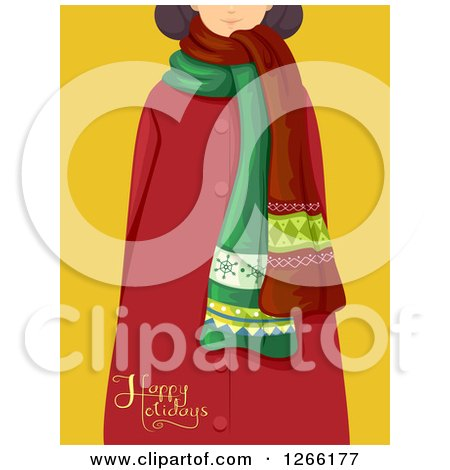 Clipart of a Girl in a Scarf and Red Coat with Happy Holidays Text over Yellow - Royalty Free Vector Illustration by BNP Design Studio
