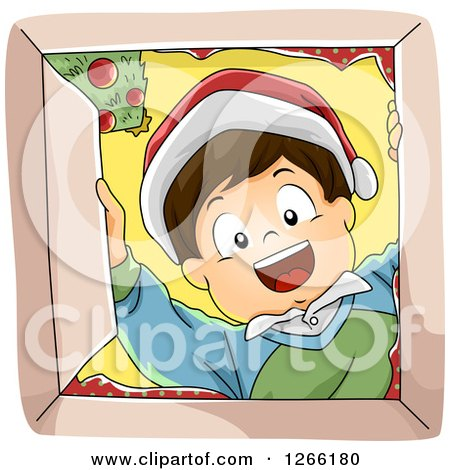 Clipart of a Happy Caucasian Boy Wearing a Santa Hat and Looking down into a Christmas Gift Box - Royalty Free Vector Illustration by BNP Design Studio
