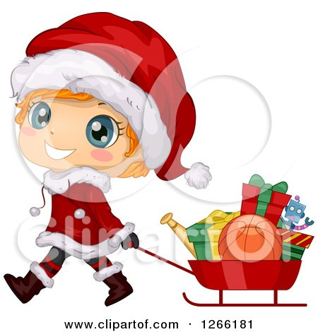 Clipart of a Cute Red Haired White Toddler Boy in a Santa Suit, Pulling Christmas Gifts in a Sled - Royalty Free Vector Illustration by BNP Design Studio