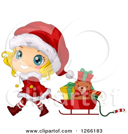 Cute Blond White Toddler Girl Wearing a Santa Suit and Pulling Christmas Gifts in a Sleigh Posters, Art Prints