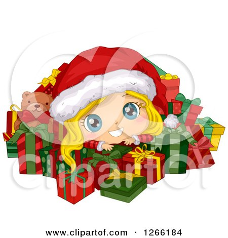 Cute Blond White Toddler Girl Wearing a Santa Hat and Resting on Top of Christmas Gifts Posters, Art Prints