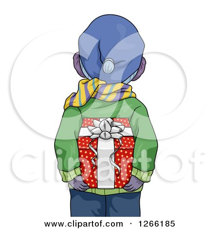 Clipart of a Rear View of a Boy in Winter Clothes, Holding a Christmas Gift Behind His Back - Royalty Free Vector Illustration by BNP Design Studio