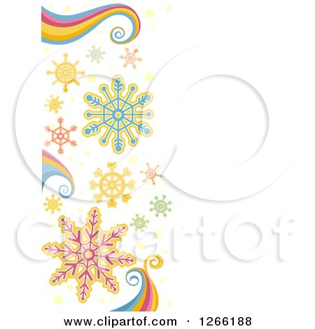Clipart of a Christmas Background with Snowflakes and Rainbow Swirls - Royalty Free Vector Illustration by BNP Design Studio