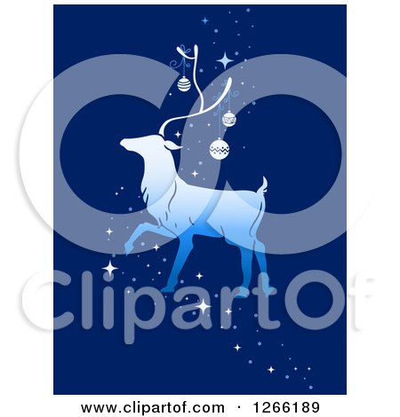 Clipart of a Walking Reindeer with Christmas Baubles and Magic Sparkles on Blue - Royalty Free Vector Illustration by BNP Design Studio