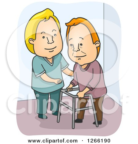 Clipart of a White Male Nurse Cargiving and Helping a Senior Man with a Walker - Royalty Free Vector Illustration by BNP Design Studio