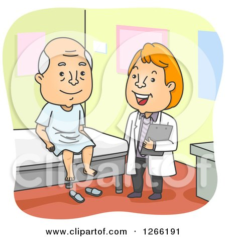 Clipart of a Happy Red Haired White Male Doctor and Senior Man at a Checkup - Royalty Free Vector Illustration by BNP Design Studio