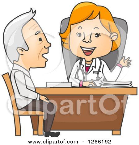 Clipart of a Red Haired White Female Doctor Talking to a Senior Male Patient - Royalty Free Vector Illustration by BNP Design Studio