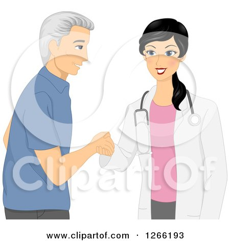 Clipart of a Young Female Doctor Meeting with a Senior Male Patient - Royalty Free Vector Illustration by BNP Design Studio