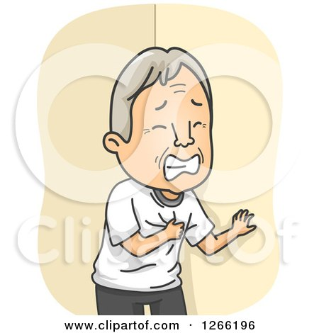 Clipart of a White Senior Man Clutching His Chest While Having a Heart Attack - Royalty Free Vector Illustration by BNP Design Studio