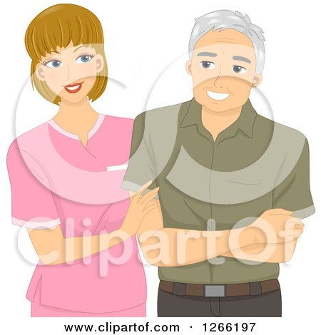 Clipart of a Young White Nurse Helping a Senior Male Patient - Royalty Free Vector Illustration by BNP Design Studio