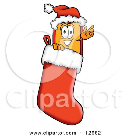 Clipart Picture of a Price Tag Mascot Cartoon Character Wearing a Santa Hat Inside a Red Christmas Stocking by Toons4Biz