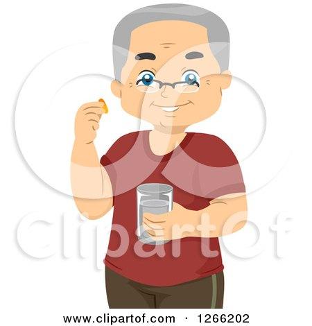 Clipart of a Happy Senior White Man Taking Vitamins - Royalty Free Vector Illustration by BNP Design Studio
