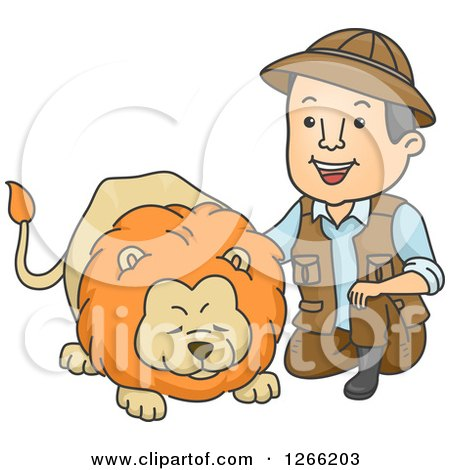 Clipart of a Male Safari Man Kneeling and Petting a Lion - Royalty Free Vector Illustration by BNP Design Studio