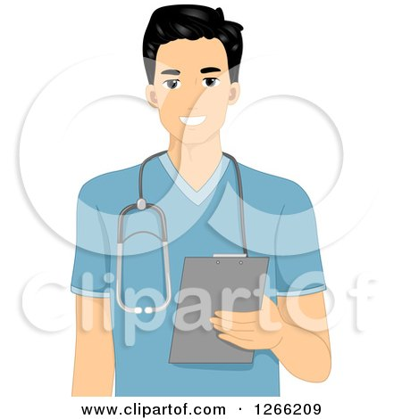 Clipart of a Young Asian Male Nurse Holding a Clipboard - Royalty Free Vector Illustration by BNP Design Studio