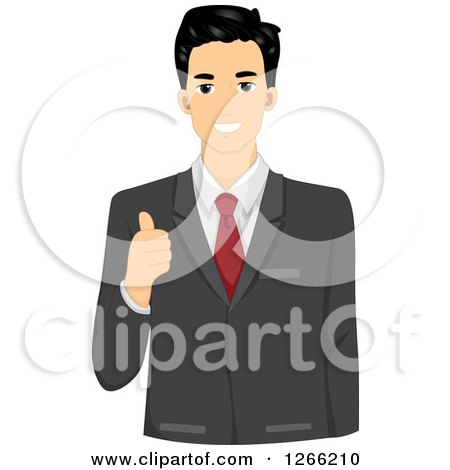 Clipart of a Young Asian Businessman Holding a Thumb up - Royalty Free Vector Illustration by BNP Design Studio