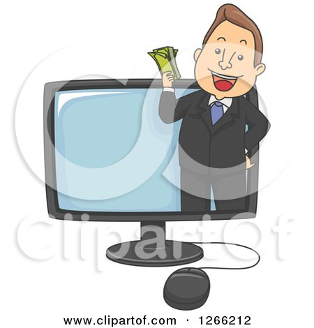 Clipart of a Happy White Businessman Holding Cash and Emerging from a Computer Screen - Royalty Free Vector Illustration by BNP Design Studio