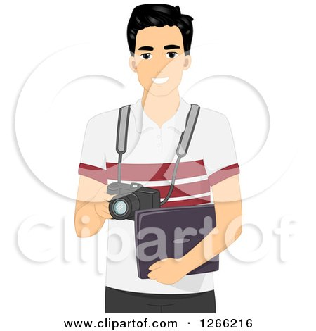 Clipart of a Young Asian Photographer Holding a Camera and Laptop - Royalty Free Vector Illustration by BNP Design Studio