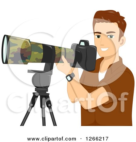 Clipart of a Young Brunette White Wildlife Photographer Man with a Camera - Royalty Free Vector Illustration by BNP Design Studio