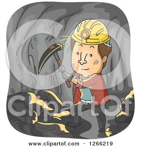 Clipart of a Brunette White Man Working in a Coal Mine - Royalty Free Vector Illustration by BNP Design Studio