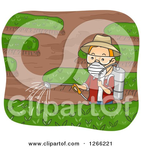 Clipart of a Red Haired White Man Spraying Pesticides in His Garden - Royalty Free Vector Illustration by BNP Design Studio