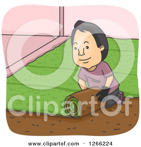 Clipart of a Happy Asian Man Rolling Sod in a Yard - Royalty Free Vector Illustration by BNP Design Studio