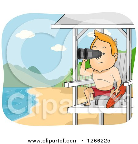 Clipart of a Red Haired White Male Lifeguard Using Binoculars at a Beach - Royalty Free Vector Illustration by BNP Design Studio