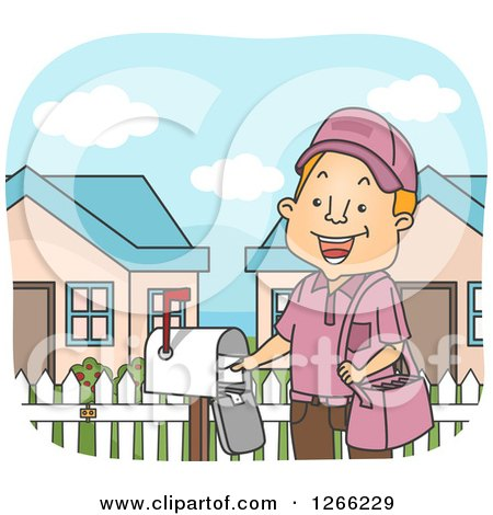 Clipart of a Happy Red Haired White Mailman Putting an Envelope in a Box - Royalty Free Vector Illustration by BNP Design Studio