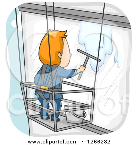 Clipart of a Red Haired White Male Window Washer Suspended Beside a Building - Royalty Free Vector Illustration by BNP Design Studio