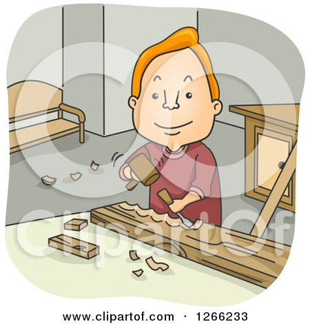 Happy Red Haired White Man Carving Wood Posters, Art Prints