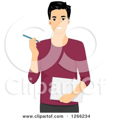 Clipart of a Young Asian Designer Man Holding a Notebook and Pencil - Royalty Free Vector Illustration by BNP Design Studio