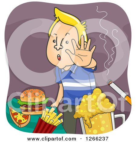 Clipart of a Blond White Man Refusing Junk Food or Unhealthy Vices - Royalty Free Vector Illustration by BNP Design Studio